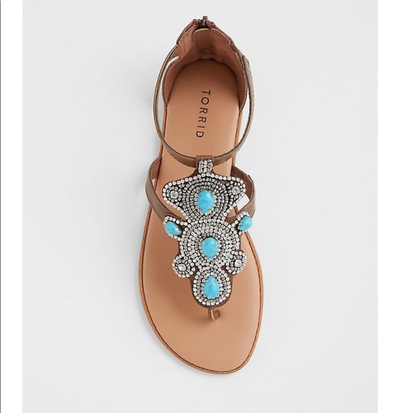 0ed7d4f1041a1a BROWN TURQUOISE STONE T-STRAP SANDAL (WIDE WIDTH)